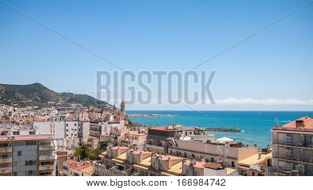 The view of the Sitges skyline, Spain