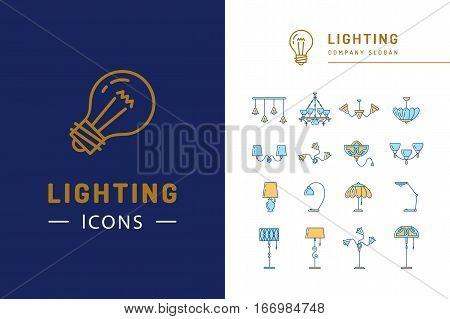 Lamp icon set, lighting store flat design. Thin line symbols chandelier, lampshade, desk lamp, decorative lightings. Brand identity graphics, business concept. Vector isolated colorful icons