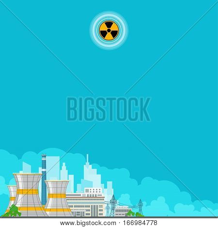 Nuclear Power Plant on the Background of the City, Thermal Power Station, Electric Power Transmission from a Nuclear Power Plant ,Poster Brochure Flyer Design ,Radiation Sign