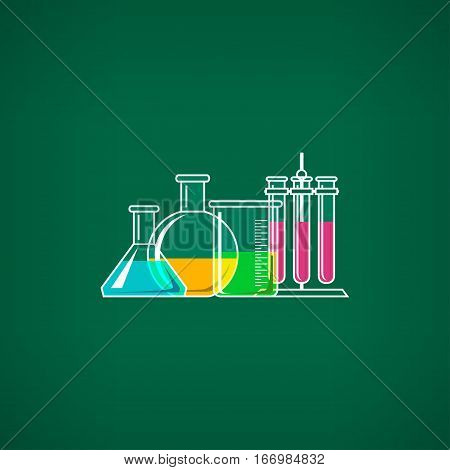 Flasks Beakers and Test-tube, Chemical Laboratory Equipment on Green Background ,School Chemistry Lab