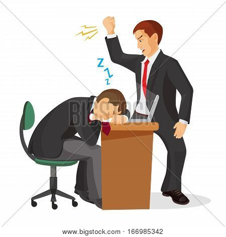 Boss crying at sleeping worker laying on table. Tired manager fall asleep at working place. Angry employer trying to wake up exhausted coworker. Angry chef shouting on dreaming male realistic vector
