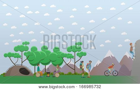Vector illustration of characters making meal on the open fire, climbing up the rock, hiking, riding bicycle. Hiking in mountains concept design element in flat style.
