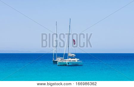 Formentera Spain - May 26 2015 - Boats in front of the Formentera coast Spain