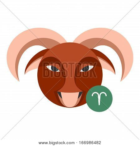 Aries astrology sign isolated on white. Horoscope symbol represented as ram horns. Zodiac constellations astrological mythology icon vector design illustration. Male sheep image in cartoon style