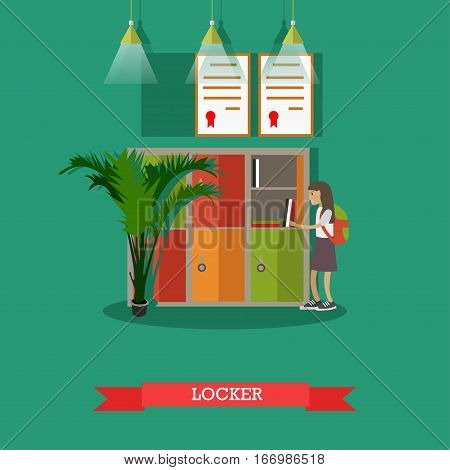 Vector illustration of school locker. Schoolgirl standing near the locker with opened door. School education concept design element in flat style.