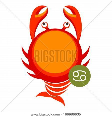 Cancer astrology sign isolated on white. Horoscope modern symbol for Cancer represents pincers of crab. Zodiac constellations astrological mythology icon vector design illustration in cartoon style