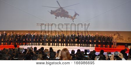 ANKARA, TURKEY - JUNE 10 2014 : Turkish VIP Persons on the stage of Turkish Land Forces Aviation Command