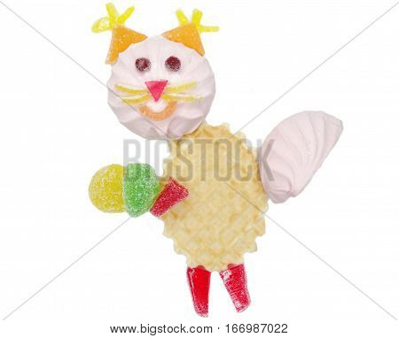 creative marmalade candy sweet child dessert squirrel with nut form