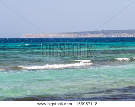 Blue waters of the Formentera island, Spain