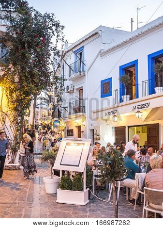 Ibiza Spain - May 23 2015. View of the Ibiza old town nightlife in Dalt Vila plenty of cool restaurants.
