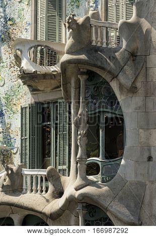 BARCELONA, SPAIN - JULY 12, 2016: Barcelona (Catalunya Spain): artistic buildings along the Passeig de Gracia