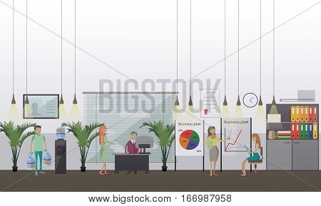 Office presentation concept vector illustration in flat style. Business people at workplaces, making presentation, water delivery service.