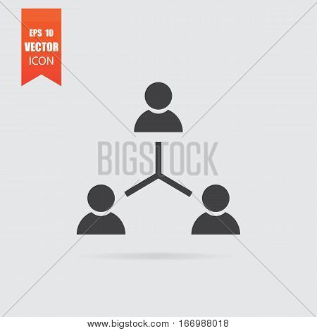 Hierarchical Structure Icon In Flat Style Isolated On Grey Background.