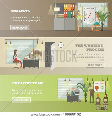 Vector set of office concept horizontal banners. Analysts, The working process, Creative process design elements in flat style.