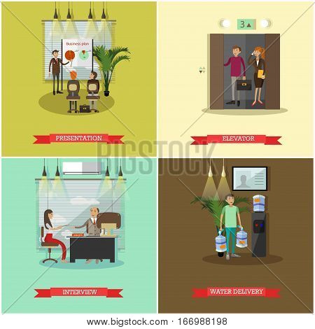 Vector set of business people concept posters, banners. Presentation, Elevator, Interview and Water delivery design elements in flat style.