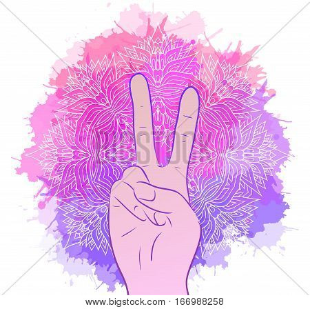 Illustration of hands with a gesture of peace. Tribal Mandala with watercolor splashes. Vector element for printing on T-shirts covers and your design.