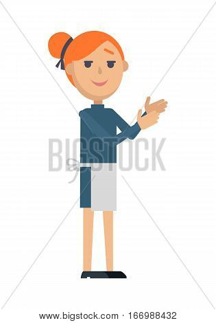 Waiter or cook character icon. Smiling red-head woman in apron flat vector isolated on white background. Maid or servant. Service staff and personnel. For profession, work, business concepts design