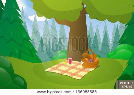 Woodland Landscape. Cartoon. Nature. Picnic. For Your Design