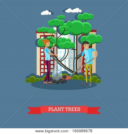 Vector illustration of volunteers young man and woman planting trees in the street. Voluntary organizations services concept design element in flat style.