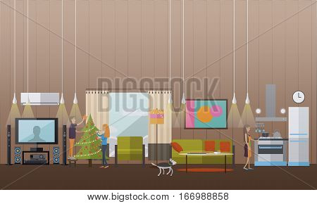 Vector illustration of preparation to New Years Eve celebration concept design elements in flat style. Couple decorating christmas tree with baubles and lights. Woman cooking festive dinner in kitchen