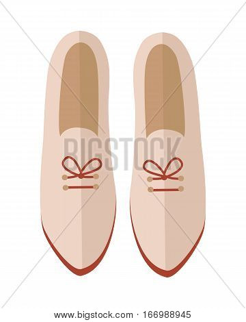 Pair of women's shoes icon. Beige leather or suede loafers with laces  for autumn season flat vector illustration isolated on white background. For shoes store ad, wear concept, app button, web design