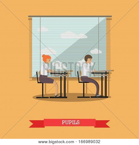 Vector illustration of schoolboy and schoolgirl sitting at the desks in classroom at the lesson. School concept design element in flat style.