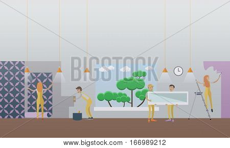 Vector illustration of workers puttying, painting, papering wall, installing window. Building and repairing a house concept vector illustration in flat style.