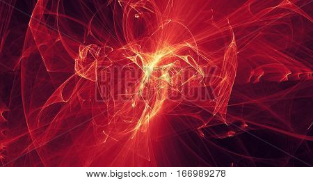 Abstract red and orange light and laser beams, fractals  and glowing shapes  multicolored art background texture for imagination, creativity and design.