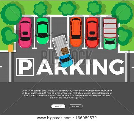 Parking conceptual web banner. Car leaves the parking place. Parking lot or car park. City parking structure. Parkade. Shortage parking spaces. Large number of cars in crowded parking. Urban infrastructure. Vector