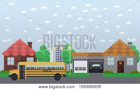 Vector illustration of school bus going in the street. School transportation concept design element in flat style.