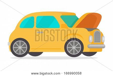 Yellow retro car isolated on white background. Vintage car with open hood in flat style. Car logo icon symbol. High quality city transport. Sedan automobile. Luxury high class sedan. Vector