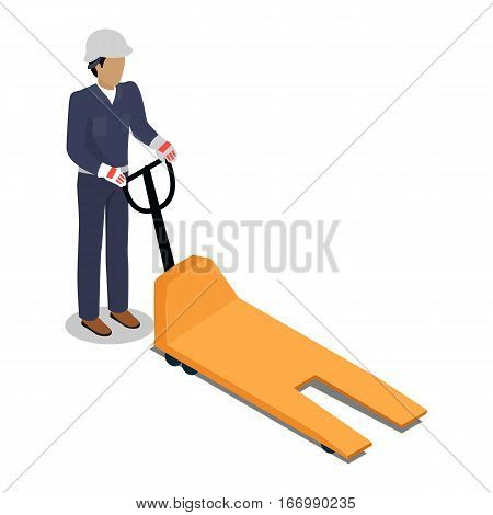 Warehouse worker with empty electric forklift. Dock worker with a trolley. Loader isolated on white. Man with a hand truck. Loading and unloading cargo goods. Industrial shipping concept. Vector