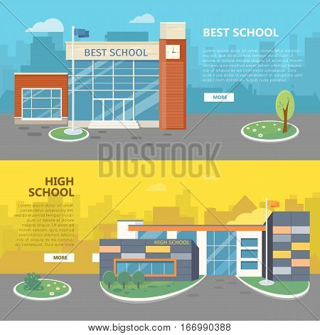 Best and high school web banners. Modern and classic school buildings with trees flowerbed, flag on yard flat vector illustrations, color city silhouettes on background. For landing page design