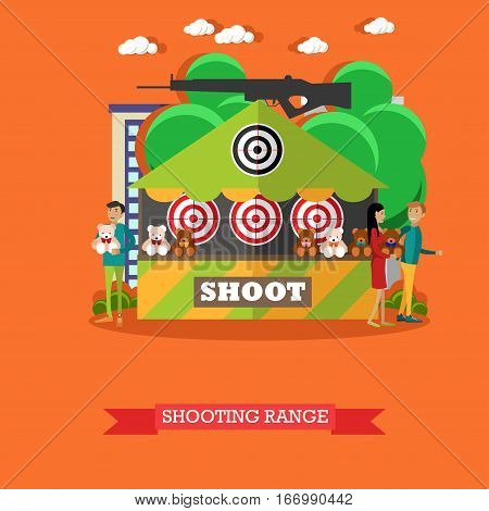Vector illustration of shooting range attraction. Cartoon characters. Amusement park concept design element in flat style.