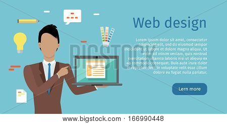 Web design conceptual web banner. Flat style. Man character with computer in hand making presentation. Building website, application interface. For web development company landing page. Internet technologies