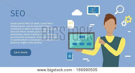 SEO conceptual web banner. Flat style. Man character with computers presenting web content. For search engine optimization and web developing company landing page. Internet technologies