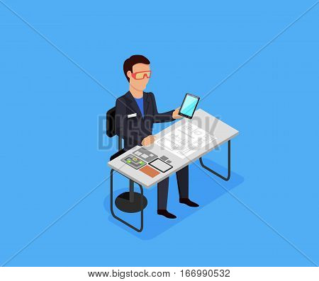 Engineer at work concept vector in isometric projection. Man character in goggles seating at the table with drawings, electronic circuit, spare parts and prototype tablet. Electronics repair service.