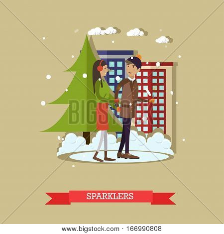 Vector illustration of young man and woman walking in the street with sparklers. Christmas time, winter cityscape, cartoon characters. Happy New Year design element in flat style.