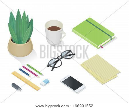 Office accessory set. Top view of desk with mobile phone, pencils, pens, plant in pot, note book, glasses, cup of tea or coffee, sheets of paper. Personal accessories in flat design. Vector