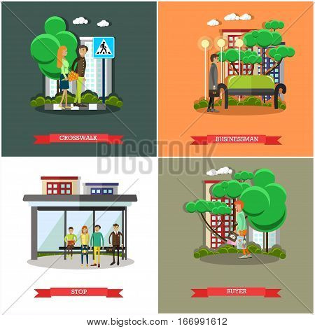 Vector set of street traffic concept posters, banners in flat style. Crosswalk, Businessman, Stop and Buyer design elements.