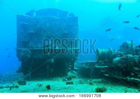 Underwater on the wreck. The locomotive on the shipwreck SS Thistlegorm.