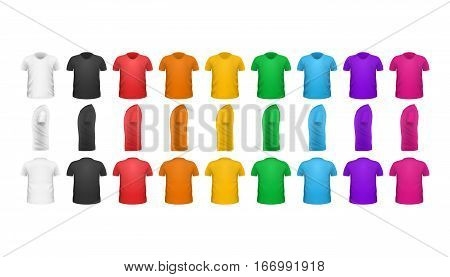 Color T-shirts front view vector set isolated. Colorful t-shirts collection. Realistic t-shirt in flat style design. Casual men wear. Cotton t-shirt unisex man woman polo outfit. Fashionable apparel.