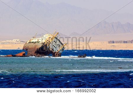 The wreck of Loullia shipwrecked near the island of Tiran.