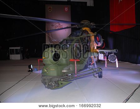 ANKARA, TURKEY - JUNE 10 2014 : T129 ATAK Helicopter in the hangar of Turkish Land Forces Aviation Command