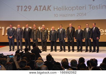 ANKARA, TURKEY - JUNE 10 2014 : VIP Persons on the apron of Turkish Land Forces Aviation Command