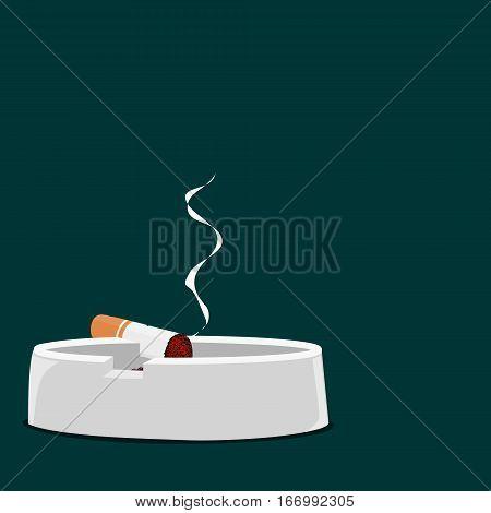Isolated burning Cigarette on whiter ash tray