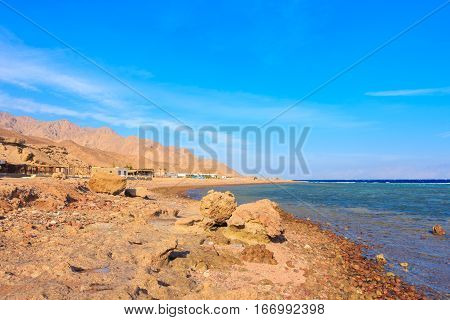View of the chill out of the website the Grand canyon. Dahab. Egypt.