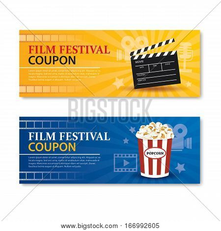 Film festival banner and coupon.Cinema movie card element design.