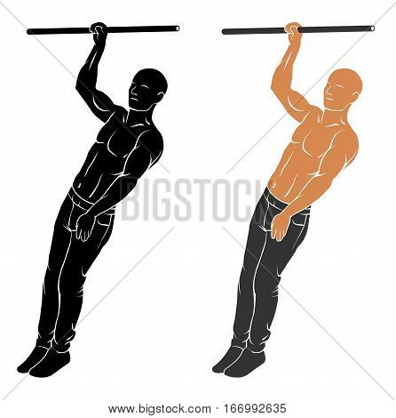 Vector illustration of man performing one hand pull up
