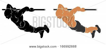 Vector illustration of man performing Back Lever